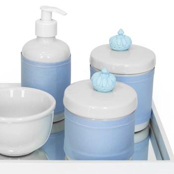 Kit Higiene Espelho Potes, Molhadeira, Porta Álcool-Gel e Capa Coroa Azul