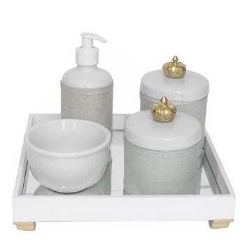 Kit Higiene Espelho Potes, Molhadeira, Porta Álcool-Gel e Capa Coroa Dourado
