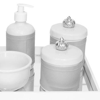 Kit Higiene Espelho Potes, Molhadeira, Porta Álcool-Gel e Capa Coroa Prata