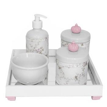 Kit Higiene Espelho Potes, Molhadeira, Porta Álcool-Gel e Capa Coroa Rosa