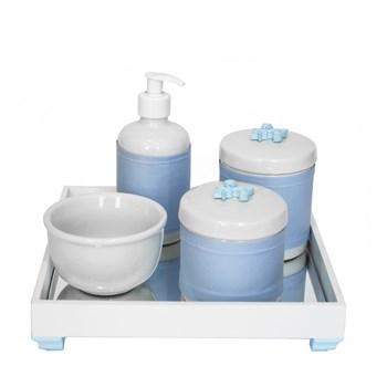 Kit Higiene Espelho Potes, Molhadeira, Porta Álcool-Gel e Capa Flor de Liz Azul