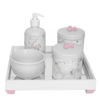 Kit Higiene Espelho Potes, Molhadeira, Porta Álcool-Gel e Capa Flor de Liz Rosa