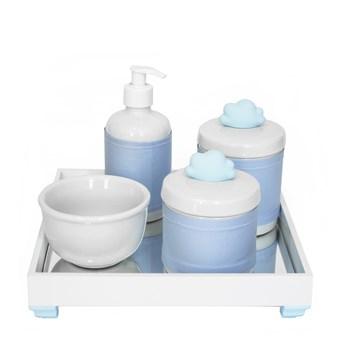 Kit Higiene Espelho Potes, Molhadeira, Porta Álcool-Gel e Capa Nuvem Azul