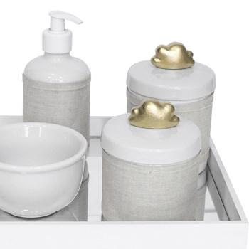 Kit Higiene Espelho Potes, Molhadeira, Porta Álcool-Gel e Capa Nuvem Dourado