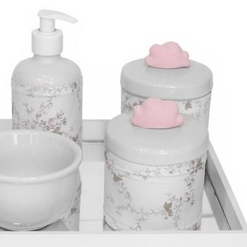 Kit Higiene Espelho Potes, Molhadeira, Porta Álcool-Gel e Capa Nuvem Rosa
