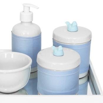 Kit Higiene Espelho Potes, Molhadeira, Porta Álcool-Gel e Capa Passarinho Azul