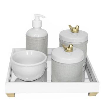 Kit Higiene Espelho Potes, Molhadeira, Porta Álcool-Gel e Capa Passarinho Dourado