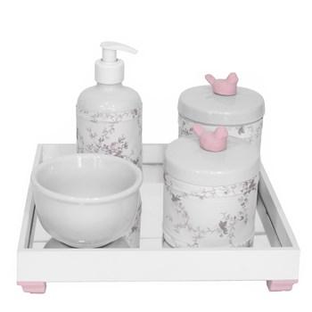 Kit Higiene Espelho Potes, Molhadeira, Porta Álcool-Gel e Capa Passarinho Rosa