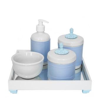 Kit Higiene Espelho Potes, Molhadeira, Porta Álcool-Gel e Capa Provençal Azul