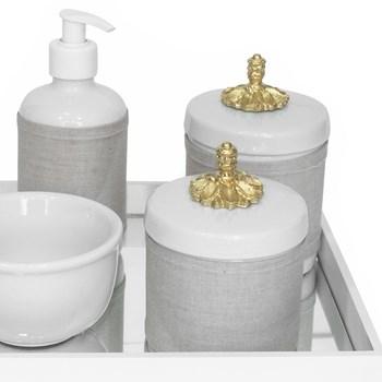 Kit Higiene Espelho Potes, Molhadeira, Porta Álcool-Gel e Capa Provençal Dourado