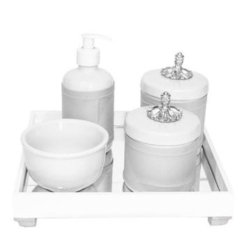 Kit Higiene Espelho Potes, Molhadeira, Porta Álcool-Gel e Capa Provençal Prata