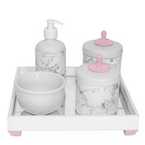 Kit Higiene Espelho Potes, Molhadeira, Porta Álcool-Gel e Capa Provençal Rosa