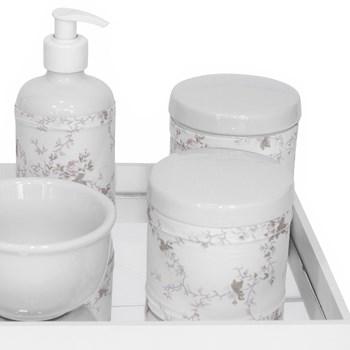 Kit Higiene Espelho Potes, Molhadeira, Porta Álcool-Gel e Capa Rosa