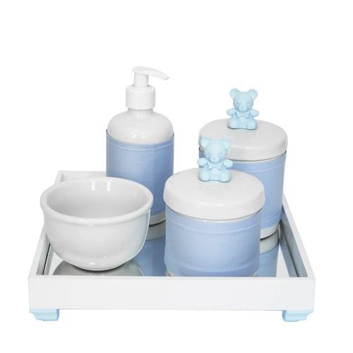 Kit Higiene Espelho Potes, Molhadeira, Porta Álcool-Gel e Capa Ursinho Azul