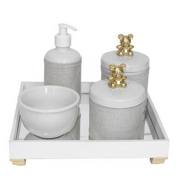 Kit Higiene Espelho Potes, Molhadeira, Porta Álcool-Gel e Capa Ursinho Dourado
