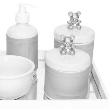 Kit Higiene Espelho Potes, Molhadeira, Porta Álcool-Gel e Capa Ursinho Prata