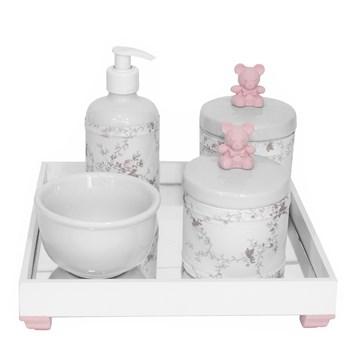 Kit Higiene Espelho Potes, Molhadeira, Porta Álcool-Gel e Capa Ursinho Rosa