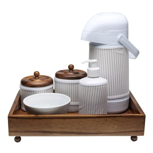Kit Higiene Madeira Clássico Bege