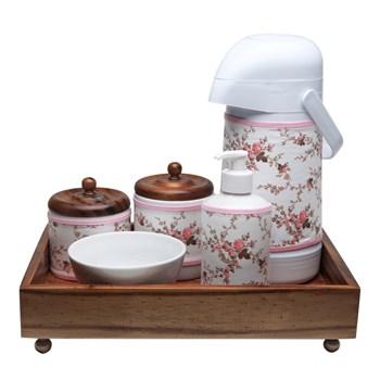 Kit Higiene Madeira Clássico Rosa