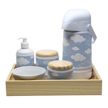 Kit Higiene Moderno Nuvem Azul