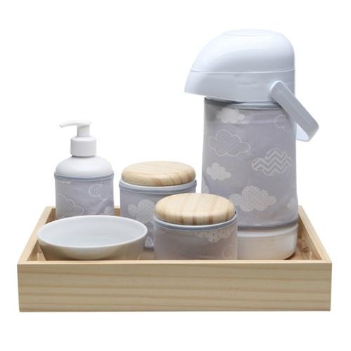 Kit Higiene Moderno Nuvem Cinza