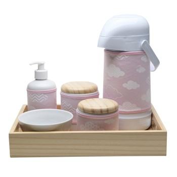 Kit Higiene Moderno Nuvem Rosa