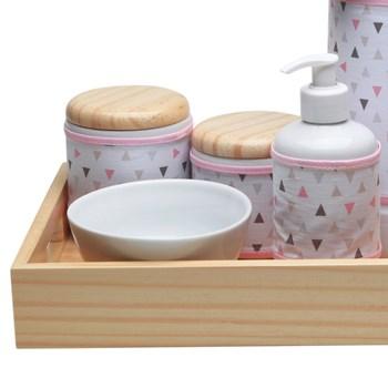 Kit Higiene Moderno Triângulos Rosa
