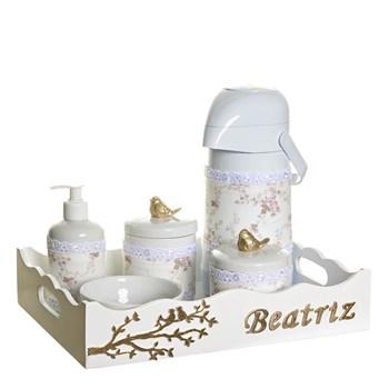 Kit Higiene Pássaros Com 6 Peças, Capa e Nome Do Bebê