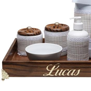 Kit Higiene Provençal Dourado Com Nome Bege