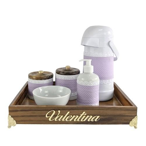 Kit Higiene Provençal Dourado Com Nome Lilás