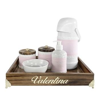 Kit Higiene Provençal Dourado Com Nome Rosa