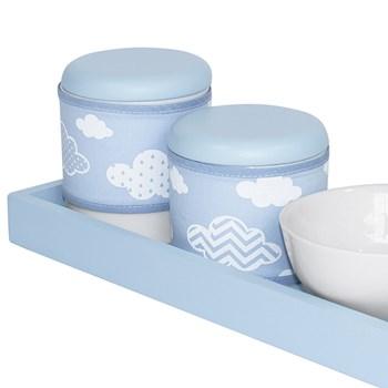 Kit Higiene Slim Azul Capa Nuvem Chevron Azul