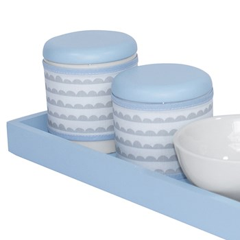 Kit Higiene Slim Azul Capa Ondinha Azul