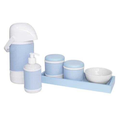 Kit Higiene Slim Azul Garrafa Grande Capa Azul Bebê