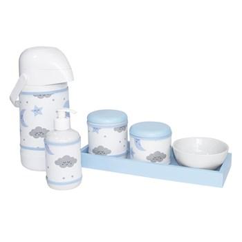 Kit Higiene Slim Azul Garrafa Grande Capa Chuva De Amor Azul