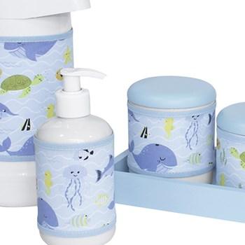 Kit Higiene Slim Azul Garrafa Grande Capa Fundo Do Mar