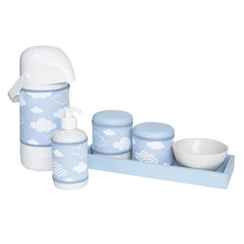 Kit Higiene Slim Azul Garrafa Grande Capa Nuvem Chevron Azul