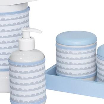 Kit Higiene Slim Azul Garrafa Grande Capa Ondinha Azul