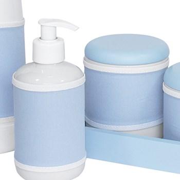 Kit Higiene Slim Azul Garrafa Pequena Capa Azul Bebê