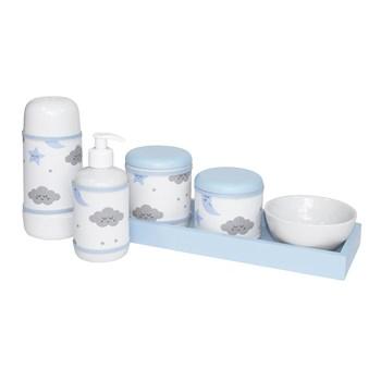 Kit Higiene Slim Azul Garrafa Pequena Capa Chuva De Amor Azul