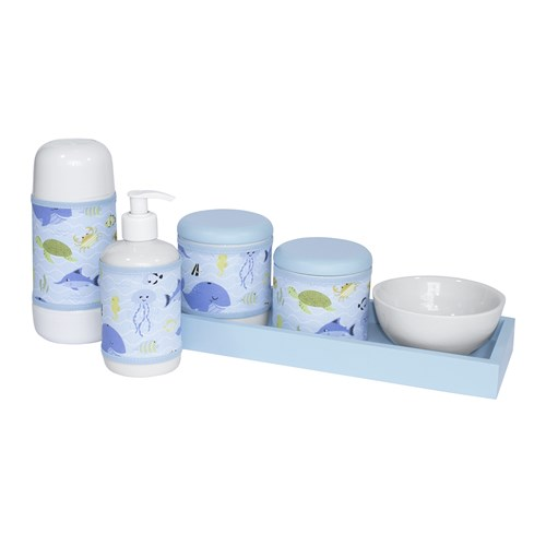 Kit Higiene Slim Azul Garrafa Pequena Capa Fundo Do Mar