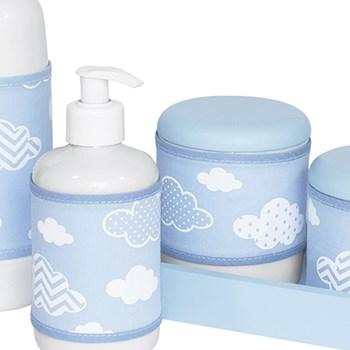 Kit Higiene Slim Azul Garrafa Pequena Capa Nuvem Chevron Azul