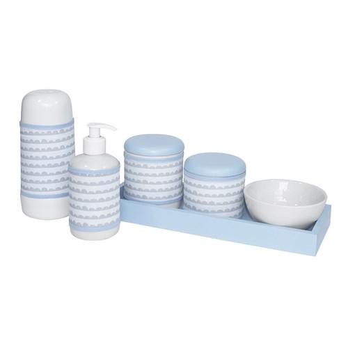 Kit Higiene Slim Azul Garrafa Pequena Capa Ondinha Azul
