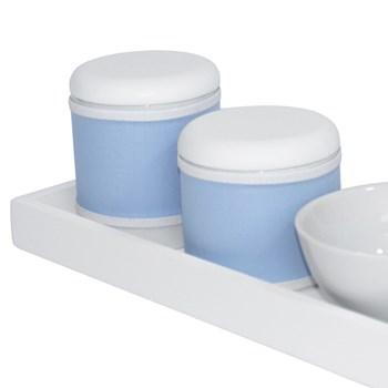 Kit Higiene Slim Branco Capa Azul Bebê