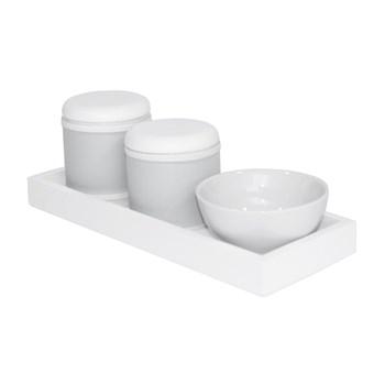 Kit Higiene Slim Branco Capa Cinza Liso