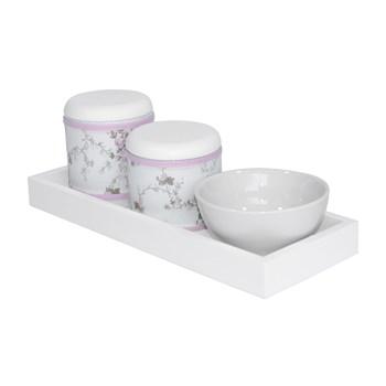 Kit Higiene Slim Branco Capa Rosa Provençal