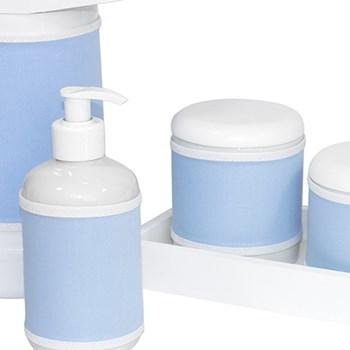 Kit Higiene Slim Branco Garrafa Grande Capa Azul Bebê