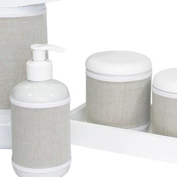 Kit Higiene Slim Branco Garrafa Grande Capa Bege Chambrê