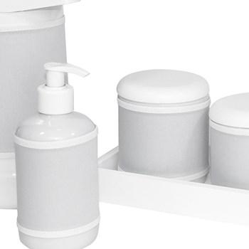 Kit Higiene Slim Branco Garrafa Grande Capa Cinza Liso