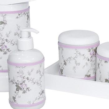 Kit Higiene Slim Branco Garrafa Grande Capa Rosa Provençal